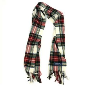 VTG Burberry 100% Wool Plaid Check Scarf Fringe